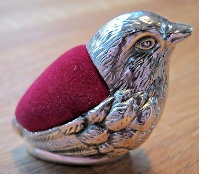 Chunky Mordan Style Wren Hallmarked Sterling Silver Pin Cushion