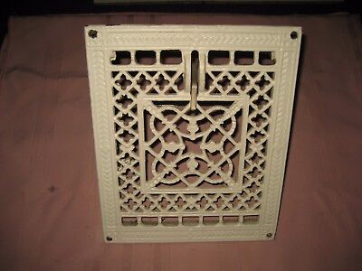 Vintage Ornate Cast Iron WALL Register Heat Grate/Vent - With Working Damper
