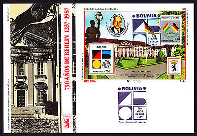 Bolivia 1987 First Day Cover 750th Anniversary of Berlin cachet & sheet FDC FDI