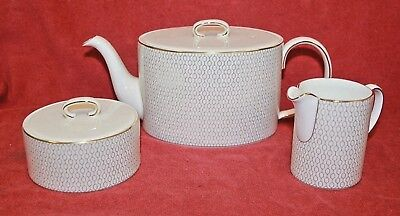 Wedgwood ~ Arris Design ~ Teapot, Cream & Sugar Set