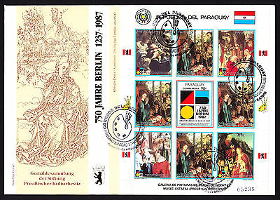 Paraguay 1988 First Day Cover 750 Jahre Berlin cachet Paintings Art stamp sheet