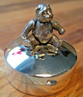 A Solid Sterling Silver Teddy Bear Box - Babies First Christmas Gift Idea