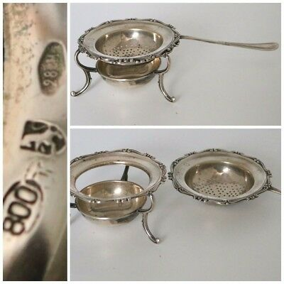 Italian .800 Silver Tea Strainer and Stand