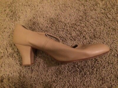 Capezio T-Strap Nude Women's Character Shoes Size 7, Gently Worn
