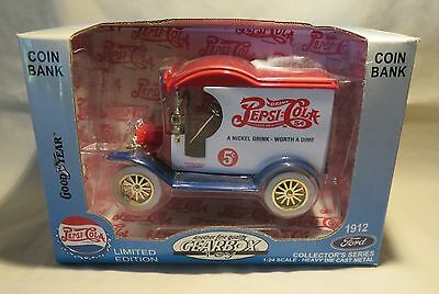 Pepsi Coca Gearbox 1912 Ford Truck Delivery Collector Die Cast Metal Bank 1:24