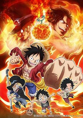 Poster 42x24 cm One Piece Luffy Sabo Ace Kids Beach Manga Anime Cartel 03