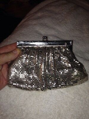 Vintage Whiting & Davis Silver Mesh Evening Bag Clutch W/mother-Of-Pearl Frame