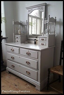 Painted Vintage Shabby Chic Antique Dressing Table Drawers Farrow & Ball