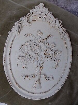 Vintage Oval Cast Metal Wall Plaque Floral Design Architectural Salvage Painted