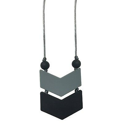 Itzy Ritzy Double Chevron Teething Pendant Necklace - Black/Gray BPA Free NEW