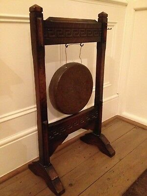 Antique Brass Dinner Gong in Wood Stand