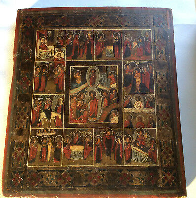 Antique Russian Orthodox Icon Church Feasts Painting on Wood 19th century