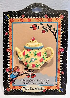 Mary Engelbreit Teapot Brooch Pin on Original Card Yellow w/Blue & Red Flowers