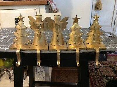 CAST IRON Angel & Tree Stocking Holders CHRISTMAS GOLD Hanger Xmas Gifts Lot/5