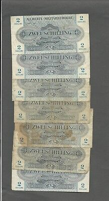 Austria P-104b  2 Schilling 1944 circulated 7 notes