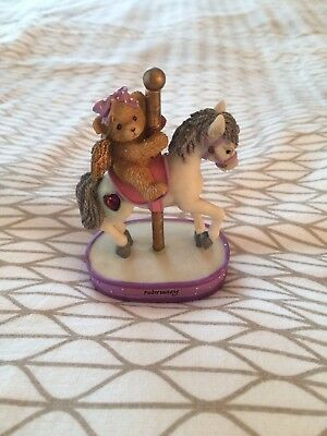 Cherished Teddies Carousel Horse Teddy Bear February Purple Amethyst Birthstone