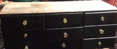 Rockwell and Rupel co Chigago antique vintage wooden 9 drawer filing cabinet