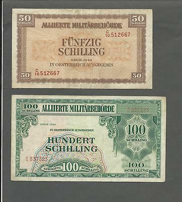 Austria P-109,110 50,100 Schilling 1944 circulated 2 notes