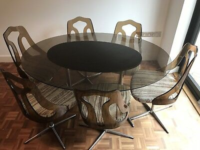 Original 1960s Glass Table And Chairs (retro, 20th Century, No reserve)