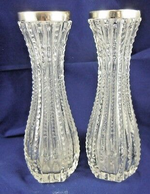 Antique Pair Of Silver Rimmed Cut Glass Vases Birmingham 6.2 Inches High.