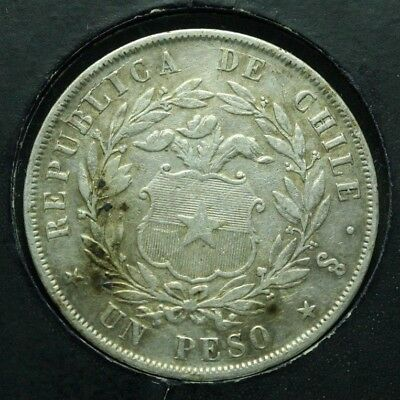 1854 Chile Peso Low Mintage only 567K High Grade   STK# WS7L12CBE