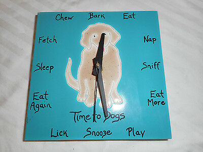"Golden Retriever Tile Clock 6"" x6"" Turquoise"
