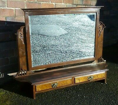 Large Edwardian Dressing Table Top (Mirror and Two Drawers)