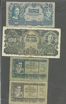 Austria P-116,118,121,126 20,100,5,5 Schilling 1945,45,45,51 circulated 4 notes