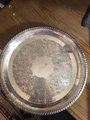 """Silver Plate Serving Tray 12 1/4"""" Braided edge, Round"""