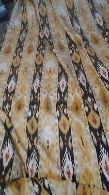One pair Gold Black Kilim pattern heavy interlined country house curtains LONG 2