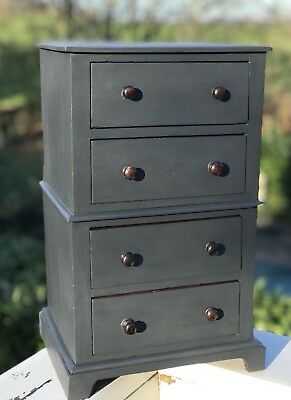 Shabby Chic Painted Victorian Mahogany Miniature Chest Of Drawers