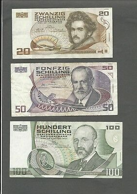 Austria P-148,149,150 20,50,100 Schilling circulated 3 notes