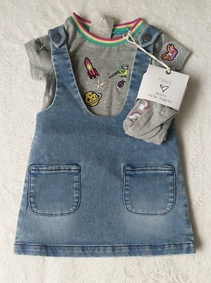 ***BNWT Next baby girl Badge Denim dress, top and Rainbow tights 3-6 months***