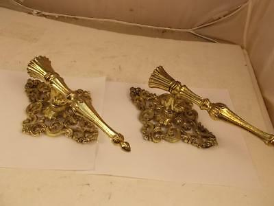 "Pair Of Gold Filigree Cast Iron Candle Wall Sconces 11"" Height"