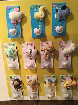 New Carter's Pacifier & Ribbon With Plush Animal Clip NWT Your Choice Cute!!!!