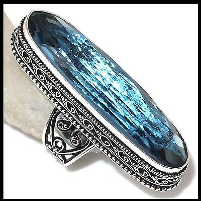 Huge! Antique Style Blue Topaz Stone Sterling Silver Statement Ring Size 7.5