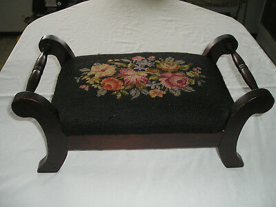 Antique Needlepoint Floral Foot Stool Bench Vintage Footstool Harry Lichtman #2
