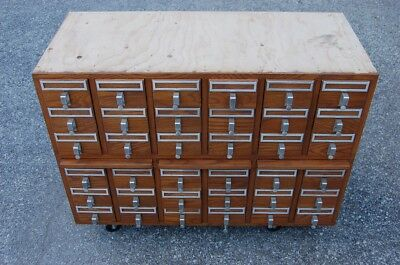 36 Drawer Oak Library Card Catalog Pull Out Shelves 1 of 6 Available