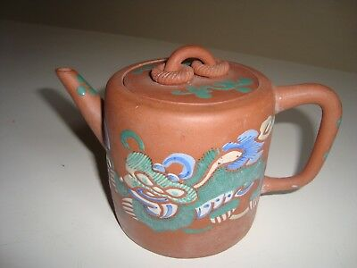 Small Chinese Yixing Hand Painted Enamel Clay Teapot