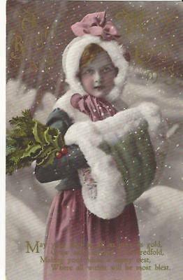 Christmas - Beautiful Young Girl In Fabulous Fur Muff , Snow Scene Glossy Pc