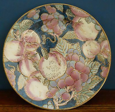 """An 8 inch hand decorated """"Toyo"""" signed porcelain plate """"Fruit Temptation Blue"""""""