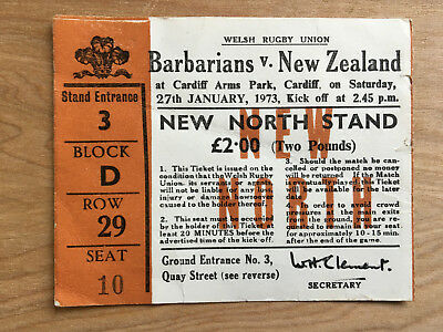 1973 Barbarians New Zealand All Blacks ticket. Wonder try game.