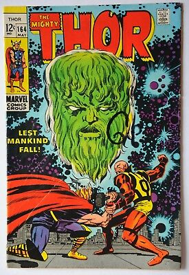 "THOR #164 SILVER AGE MARVEL COMIC MAY 1969 ""Lest Mankind Fall!"""