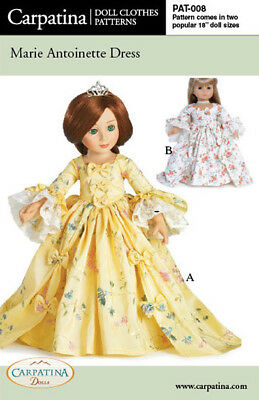 "Marie Antoinette Doll Dress Pattern Multi-size for 18"" American Girl & Carpatina"