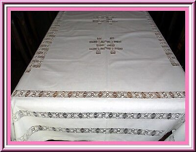 Stunning Antique Large Drawnwork Linen Tablecloth With Amazing Design & Conditio
