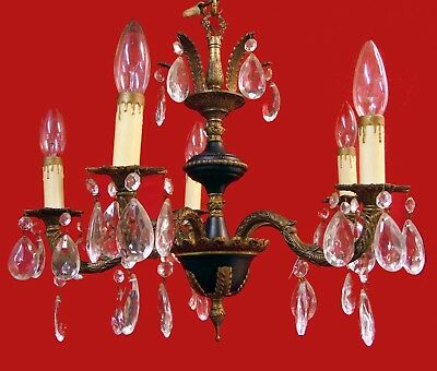 Vintage Spain Spanish Brass Crystal Glass Prisms Chandelier Ceiling Fixture Lamp
