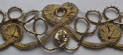 Rare Find! Vintage Gold Metallic Corded Trim Flat Thread Accents  French