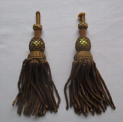 Vintage Set of Gold Metallic Tassels Netted Tops Coiled Bullion Strands  French