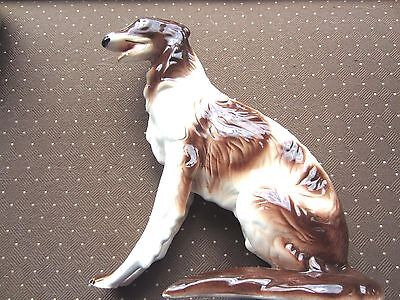 """Vintage Large Borzoi Russian Wolfhound porcelain Figurine, 12"""" tall by 10"""" long"""
