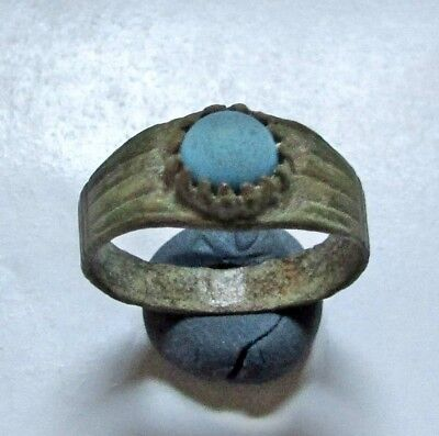 Ancient Roman Bronze RING with  Blue stone.